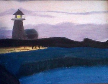 painting of a lighthouse and ocean